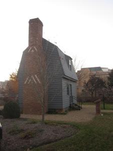 A replica of the cabin Johnson was born in. The original cabin was located in Raleigh, North Carolina.
